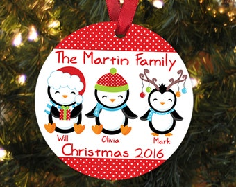 Penguin Holiday Ornament  - Personalized Penguin Family Christmas Ornaments