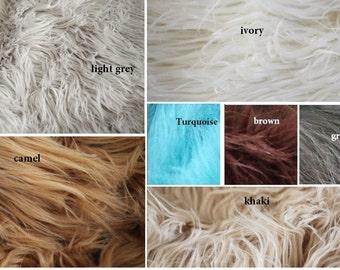 Mongolian Long Faux Fur Baby Blanket Stuffer Mat for Photography Photo Prop