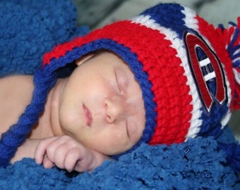 Handmade Montreal Canadiens Crochet Hat with NHL Patch/ Photo Prop (newborn-adult: made to order)