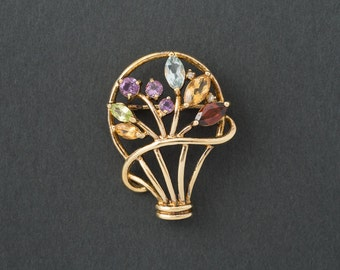 Vintage  Semi Precious Gem Stones  Brooch  925 silver with gold plate