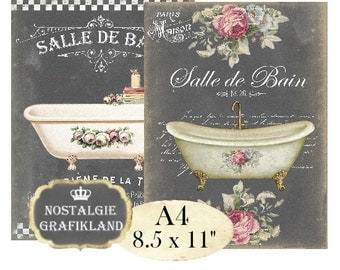 Bathroom Salle de Bain Le Bain Bath Bathtub Chalkboard Shabby Chic A4 Instant Download digital collage sheet A110