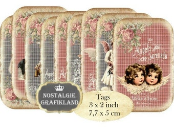 Shabby Chic Angels Tags Instant Download digital collage sheet T079 digital Victorian Angel Cupids