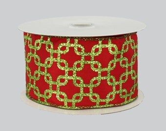 10 yards Red Lime Green Interlock Wire Edge Ribbon - Ribbon for Wreaths, Red Christmas Ribbon, Pew Bow Ribbon