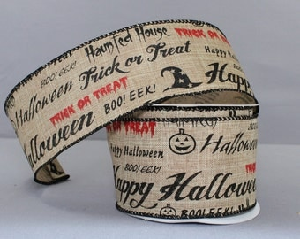 10 yards Scripted Haunted Halloween Linen Wire Edge Ribbon - Ribbon for Wreaths, Rustic Halloween Ribbon, Burlap Halloween Ribbon