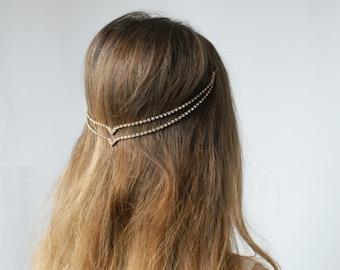 Bohemian wedding Headpiece - Downton Abbey style Bridal Accessory - Art Deco Headpiece- Silver crystal hair accessory - -Hair jewellery