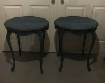 Pair of french nightstands /side tables Black /blue