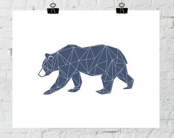 Geometric Print, Bear Print, Bear Art, Navy Blue Bear, Printable Bear, Printable, Nursery Prints, Bear Decor, Nursery Art, Bear Printable