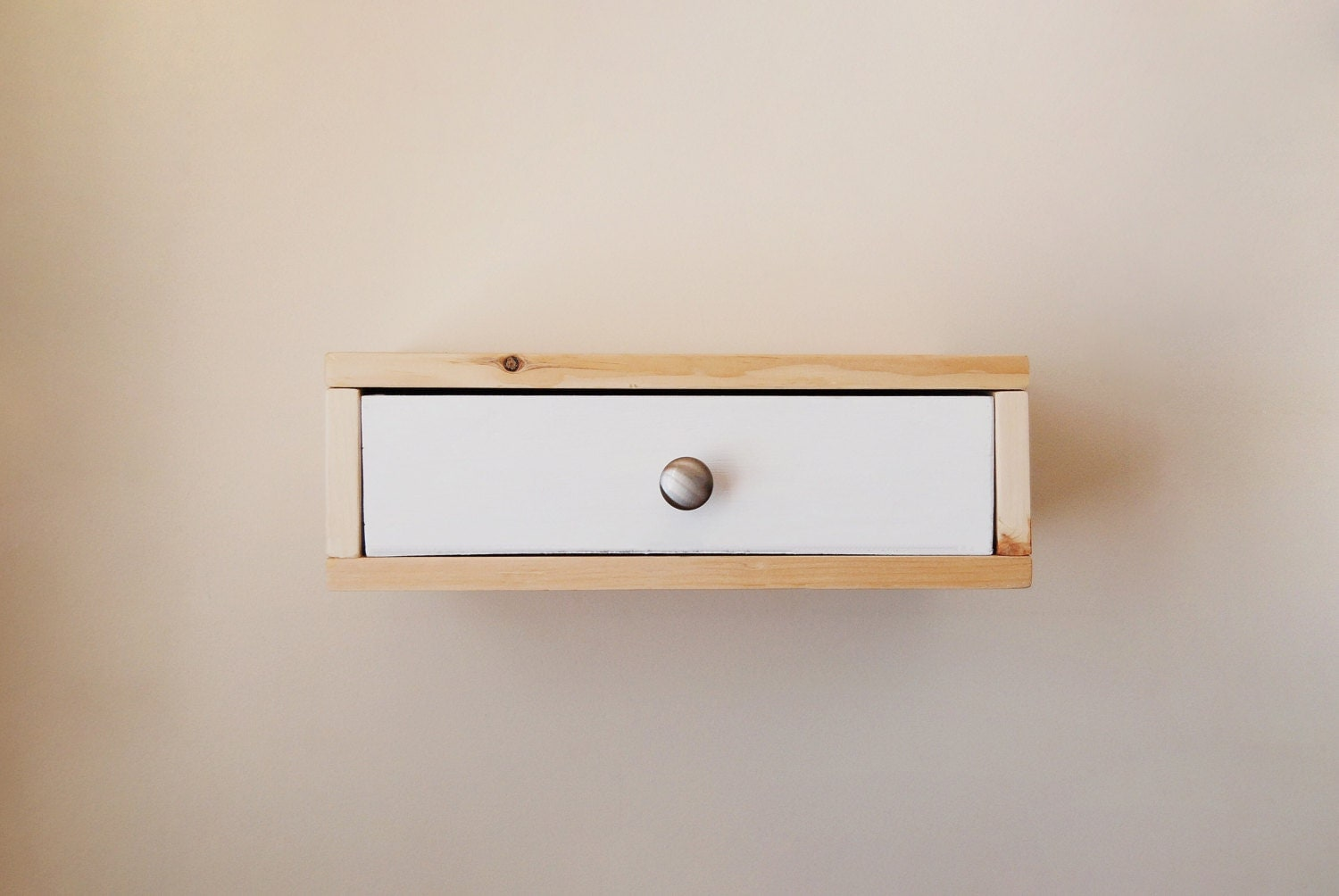 Floating nightstand wall shelf with color drawer by for Floating nightstand