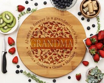 Personalized Round Cutting Board, Custom Engraved Cutting Board,  Grandma Grandmother's Love Mother, Housewarming, Birthday, Bamboo Wood