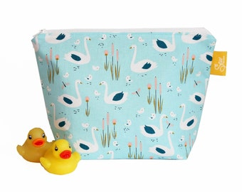 Make Up / Wash Bag with cute blue swan family & a Waterproof Lining, Great Cosmetic / Travel / Toiletry Bag or nappy / diaper pouch