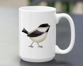 Chickadee Coffee Mug 15oz. MTO, Stylized Bird,Sweet Cute Backyard songbird,for Bird watchers, Bird Lovers, birders, Black-capped Chickadee