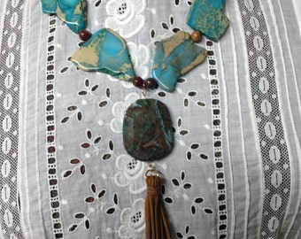 Turquoise  and brown semiprecious gemstone necklace with tassle pendant