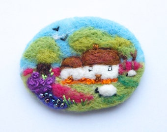 Irish Cottage Brooch, Needle felted brooch, cottage pin, wool, 'Cottage in bloom', landscape, sheep brooch, birthday gift, felt brooch