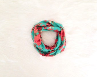 Baby Toddler Child Infinity Scarf - Roses on Deep Teal - READY TO SHIP