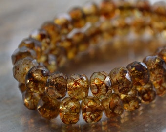 10 Czech Picasso Beads 8x6mm- Faceted Rondelle- Amber Sand (677-10)
