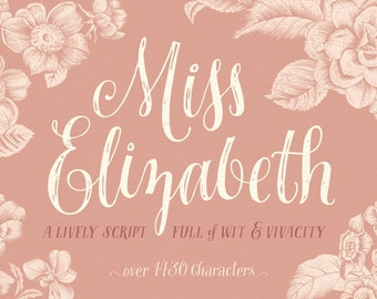 Miss Elizabeth Script - Opentype Font - Alternates, Ligatures and Ornaments