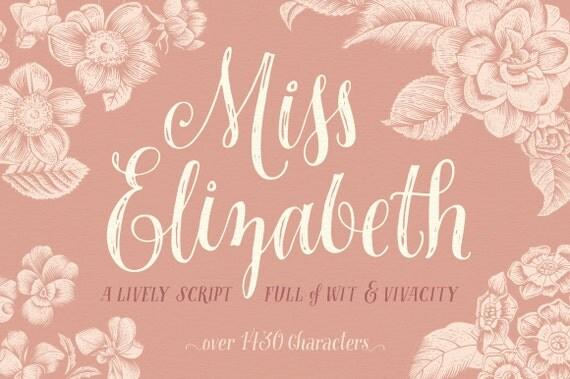 Miss Elizabeth Script - Opentype Font - Alternates, Ligatures and Ornaments