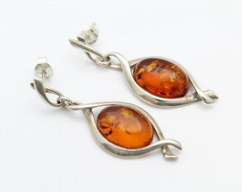 Handmade Sculptural Sterling Silver and Amber Drop Earrings. [6486]