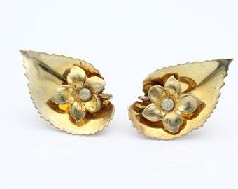 Vintage Leaf and Flower Screw-Back Earrings in Gold Vermeil With Rhinestones. [8108]