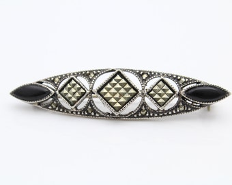 Vintage Han Brooch in Black Onyx and Marcasite in Sterling Silver. [8836]