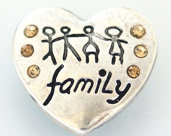 KB8128 Family Heart Set in Silver With Beige Crystals