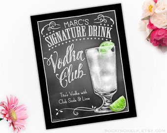 Signature Drink Signs - Illustrated Chalkboard Style Decor   Weddings, Rehearsals, Parties, Gifts   Vodka Club with Lime