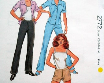 Kwik Sew Pattern 2772 Misses Pants, Shorts and Shirt Size Xs-Xl Bust 31 1/2-45 Knits Only FACTORY FOLDED Pattern and Instructions