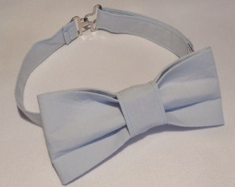 Powder blue bow tie for baby, toddler, or boys. Adjustable bow tie in powder blue for birthdays, weddings, photos, or Easter