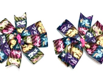 My Little Pony Bow , My Little Pony Pigtail Set , Neon Bows , Pigtail Bow Set , Pinwheel Hair Bows