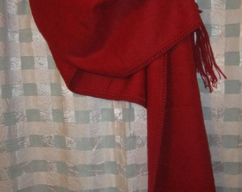 100% Dark Red Alpaca Shawl