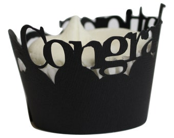 Black Congratulations Cupcake Wrappers, Set of 12, Graduation, Handcrafted Party Decor, Party supplies, Cupcake Decor
