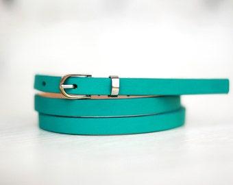 Free shipping! Leather belt, turquoise belt, womans belt, mint belt, green leather belt, skinny belt, waist belt, narrow belt, casual belt