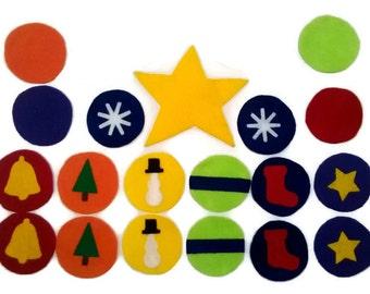 Large Felt Christmas Tree Ornaments, large felt tree,  toddler christmas,  play christmas tree, child ornaments, decorate your own tree