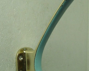 vintage 50s lightblue enamelled brass coat rack / hat rack