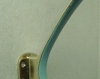 vintage 50s lightblue enamelled brass coat rack / hat rack hook