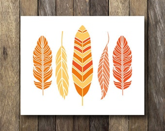 Fall Wall Art - Instant Download Printable - Tribal Printables - Feather Print - Fall Printables - Feather Printable