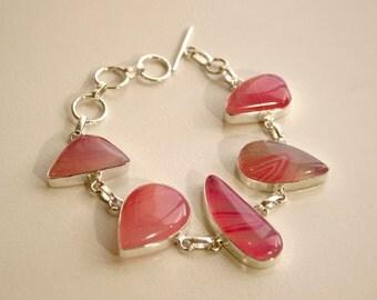 Handmade Pink Sardonyx and Silver Bracelet
