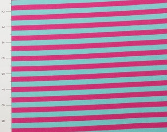 "3/8"" Turquoise & Fuchsia Yarn Dyed Stripe by Made Whimsy"
