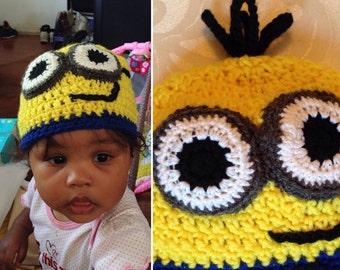Minions beanie. Minions style with eyes and hair sprouts