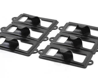 BLACK Label Holders-Choice of 11 - 20 Black Metal Label Holders with Finger Pull-Drawer Pull Handle-Matching Screws Included-LHF009