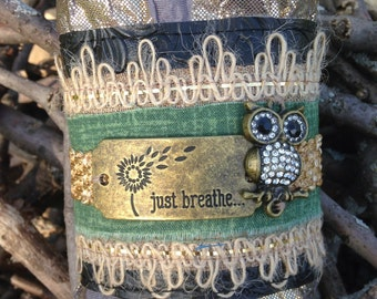 Just breathe Fabric cuff bracelet