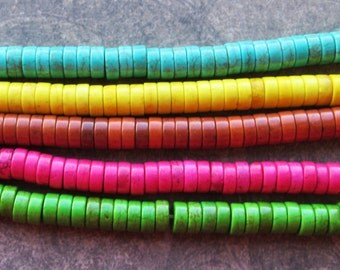 50 Dyed Howlite Heishi Beads Colourful 8x4mm Spacers Turquoise Pink Yellow Green Brown Dark Blue Purple