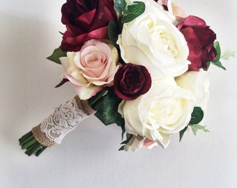 Marsala, burgundy, ivory, silk bridal bouquet, roses, peony, rustic, autum wedding