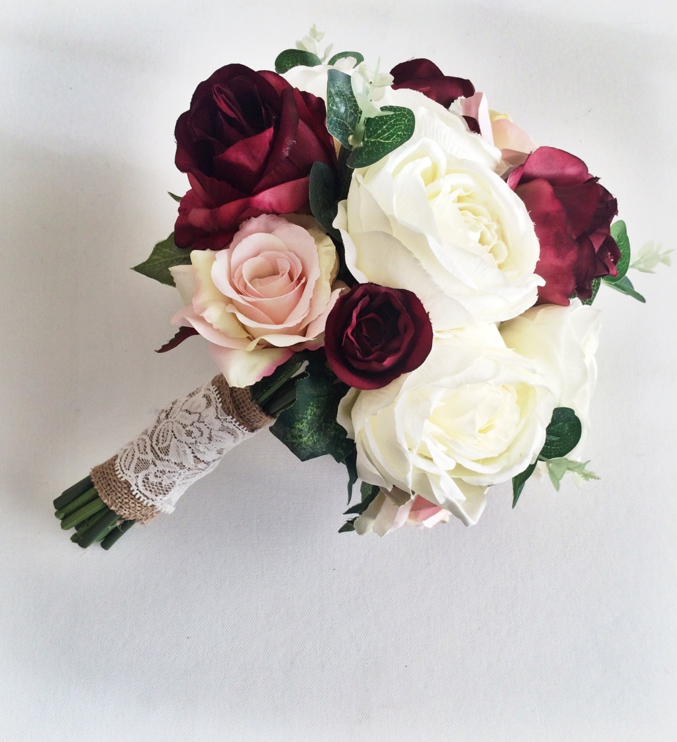 Wedding Bouquet Burgundy : Marsala burgundy ivory silk bridal bouquet roses peony