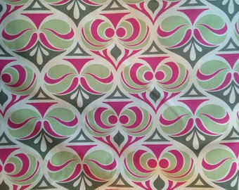 Retro Modern Magenta & Green Curtain Upholstery Fabric by the Yard- Ready to Ship