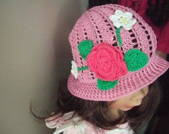 crochet sun hat crochet Girls Sun Hat Crochet summer hat Girls summer hat summer hat Crochet girl hat with flower cotton hat