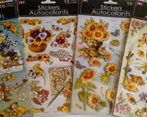 3D Stickers Autocollants Flowers Nature for scrapbooks, cards Scrapbooking Banner Pansy Gerbera Sunflower