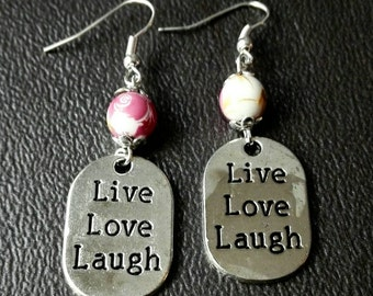 Live love laugh message tag earings