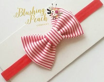 Stripe Christmas Bow Headband - Baby Headband - Red Headband - Baby Bows - Handmade Bows - Baby Shower Gift - Toddler - Infant - Newborn