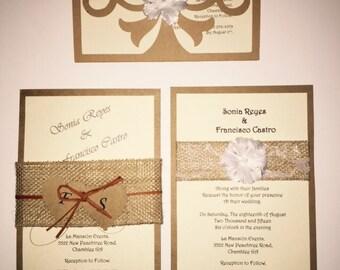 50 RUSTIC WEDDING INVITATIONS.